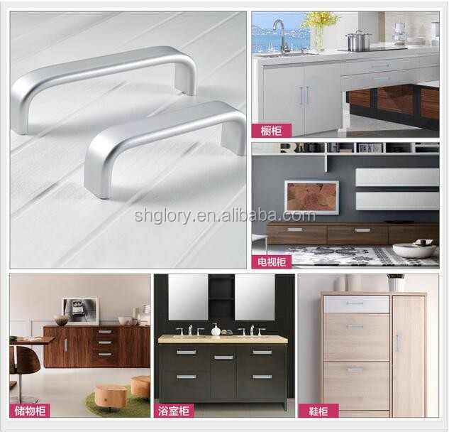 Simple kitchen cabinet aluminum oxide handle, solid aluminum long handle no fade