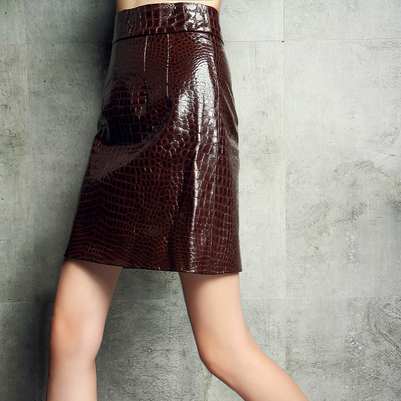 Womens Trench Red Crocodile Real Leather Skirt