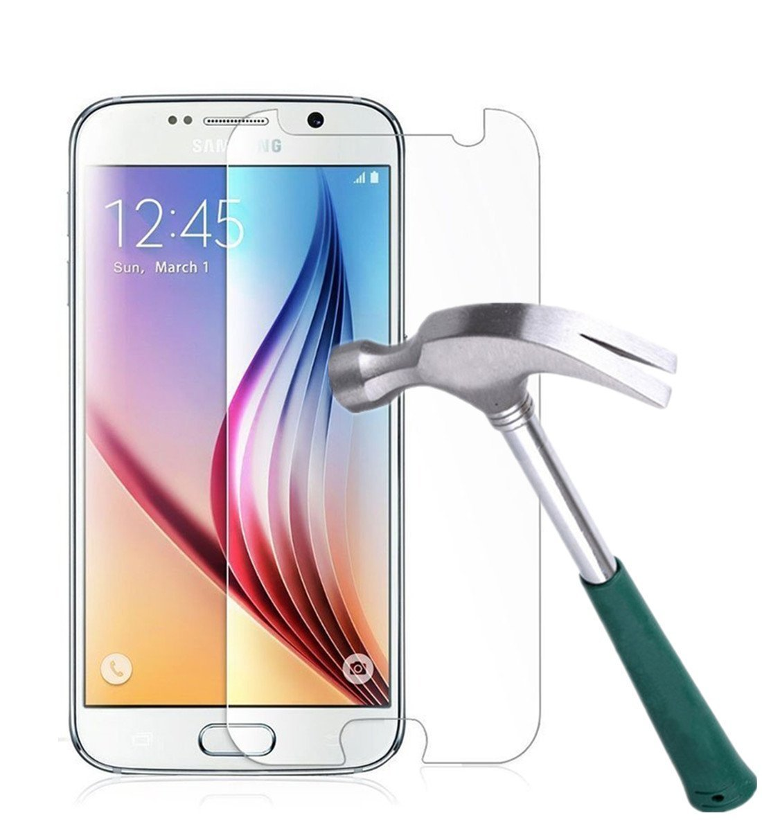 Galaxy S6 Screen Protector,TANTEK [Bubble-Free][HD-Clear][Anti-Scratch][Anti-Glare][Anti-Fingerprint] Premium Tempered Glass Screen Protector for Samsung Galaxy S6,[Lifetime Warranty]-[1Pack]