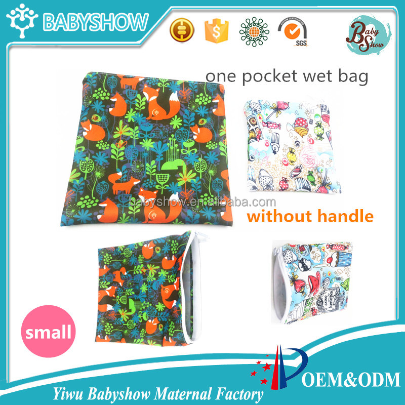 new Hot sale single pocket print PUL fabric small cloth diaper wet bag,wholesale reusable dirty cloth nappy dry bag one zipper