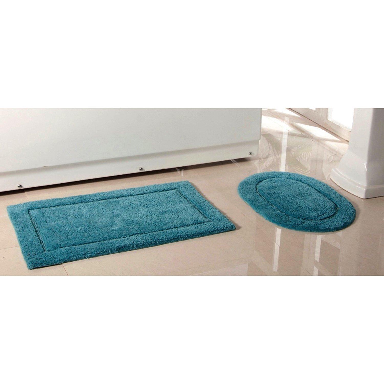 Buy 2 Piece Dusky Blue Luxury Cotton Bath Rug Mat Solid Color