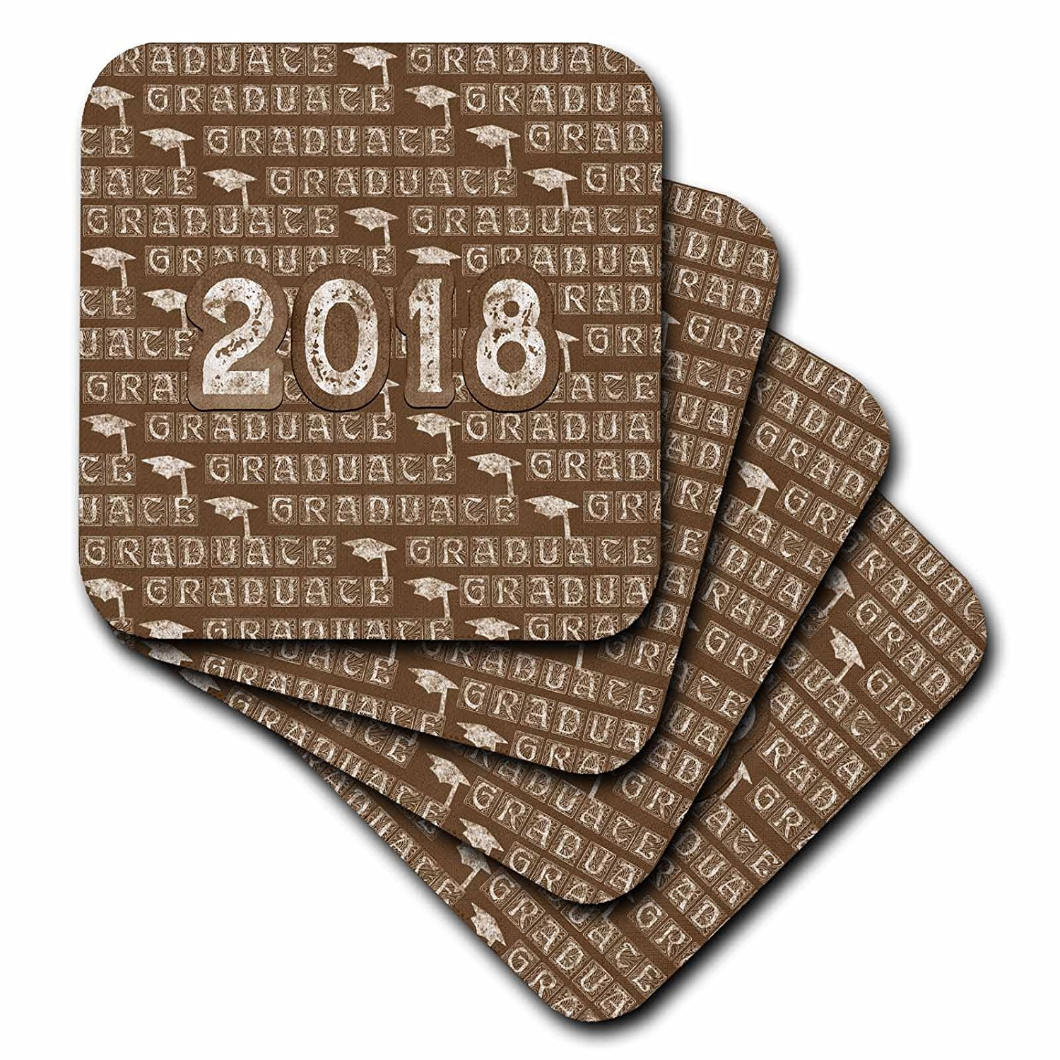 3dRose Beverly Turner Graduation Design - 2018 and Graduation Caps Caulk board Look, White and Brown - set of 4 Ceramic Tile Coasters (cst_276155_3)