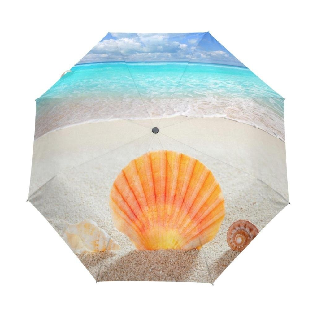 EnnE Umbrella Shell Starfish Folding Compact Travel Umbrella Rain Windproof UV Protection