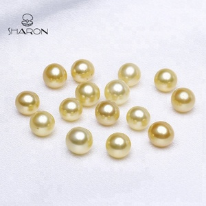 7-8mm Natural Cultured Pearl Jewelry No Hole Round Freshwater Gold Loose Pearl