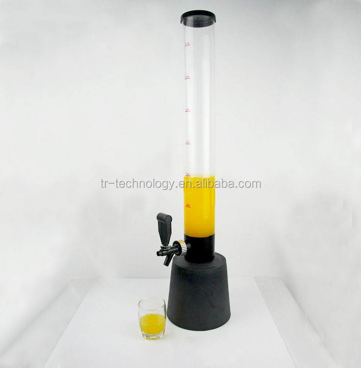 New design 3 Liter Beer/beverage Dispenser Tower with ice tube cooling