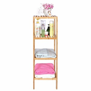 Wholesale Bamboo Bathroom Shelf 4-Tier Multifunctional Storage Rack for bathroom