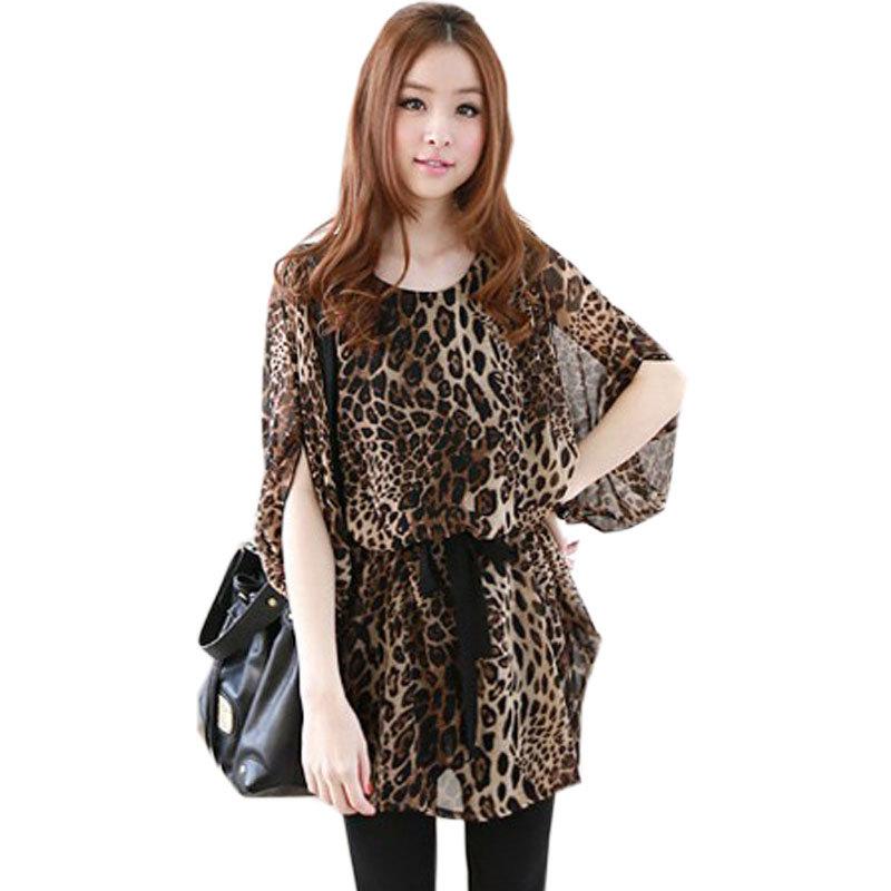 get quotations fashion t shirt women tops summer dress leopard printed chiffon half sleeve o neck mini
