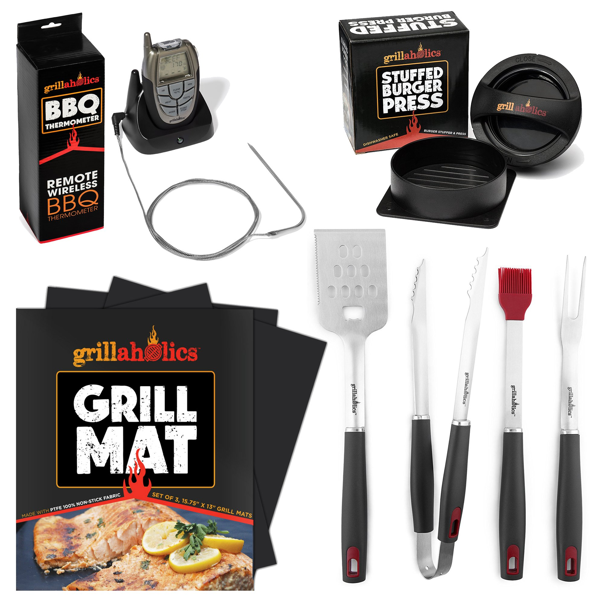 Grillaholics Gift For Dad Grilling Bundle - Includes Set of 3 Non Stick Grill Mats, Stuffed Burger Press, Set of 4-Piece Grill Tool Set, Premium Meat Thermometer - Massive Gift Package for Dad
