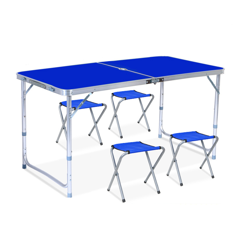Easy Carry Handle Height Adjustable Craft Aluminium Camping Utility Folding Table Picnic Table Set With Umbrella Hole