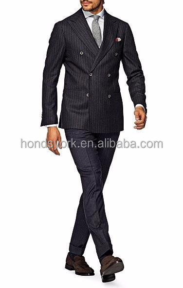 MTM SOHO navy stripe men suit with superior wool and cashmere
