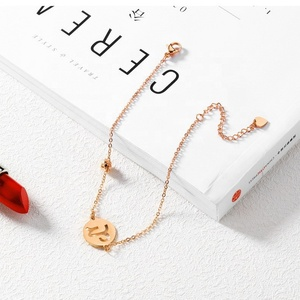 Retro New Hot Sale Stainless Steel Chain Anklet Rose Gold Simple Zodiac Pendant Rings Statement Titanium Anklet Women Girl Gift