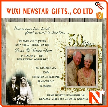 Promotional 50th Wedding Anniversary Invitation Card Buy 50th