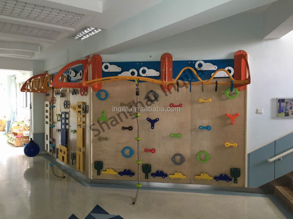 Lovely design kindergarten indoor children climbing wall