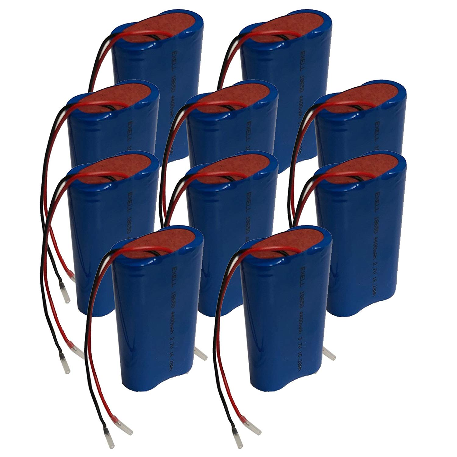 10x Exell 3.7V 4400mAh Li-Ion 2200mAh Battery Pack with 4in bare wire leads