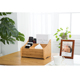 Bamboo Tissue box Holder TV Remote Control Organizer with 3 Compartments Holder for Pen Pecnil Office Desk Organizer