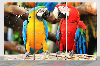 Orologi Da Parete In Tela : Arte orologio da parete animale orologio da muro pappagallo su