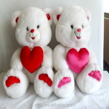 40 Cm Seduta Disegno Peluche Bianco Teddy Bear Con Cuore Rosso Ti