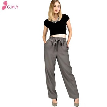 uk availability great variety styles attractive price Vintage Paper Bag Waist Bow Tie Trousers Wide Leg High Waisted Pants - Buy  Ladies Wide Leg Pants,Elastic Waist Mens Pants,High Waist Pattern Pants ...