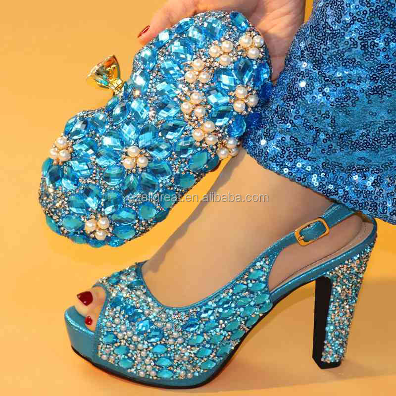AB7766 Custom made royal blue italian shoes and matching clutch bag / toe high heels women shoes with genuine italian leather ba