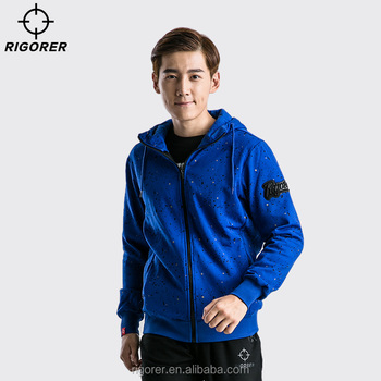 New Style Zip Up Hoodie Fleece Hoodie for Men with Blue Color