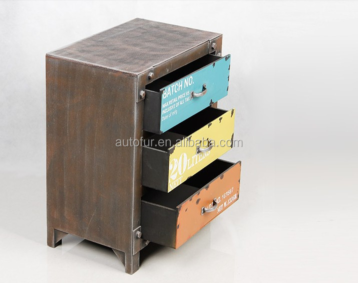 Retro Creative Steel Wooden Drawer Vintage Side Metal Cabinets