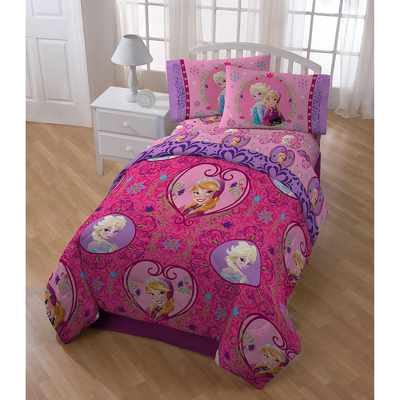5 Piece Girls Kids Disney Frozen Comforter Twin Set, Adorable Pink Pretty Movie Themed Bedding + Cute Elsa Pillow Buddy