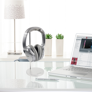 Headphones Stand Headset Holder Universal Aluminum Alloy Headset Stand/Hanger for All Headphone Sizes (Silver)