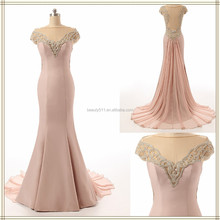 2017 real prom evening dress Off-shoulder Cap Sleeve Backless Satin and Chiffon Mermaid Prom Dress ZS15-07