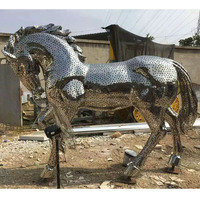 Metal Stainless Steel Material Ornament Abstract Large Horse Figurines Sculpture