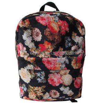 Bolso De Escuela De La Moda Mochilas De Lona Lindo Impreso Mochila Para Adolescentes Bolsa De Terciopelo Floral Mochila Buy Mochila Floral,Mochila
