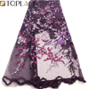 Purple color nigerian lace fabric 2019 fashion flower embroidery african tulle french lace fabric with sequins for wedding dress