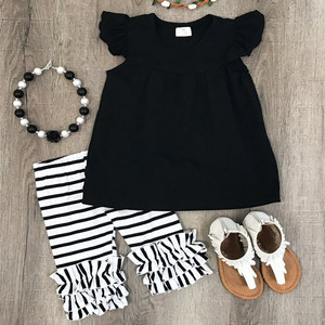 Boutique Children Clothes Wholesale Solid Top Striped Shorts Summer Girl Clothing Capri Set