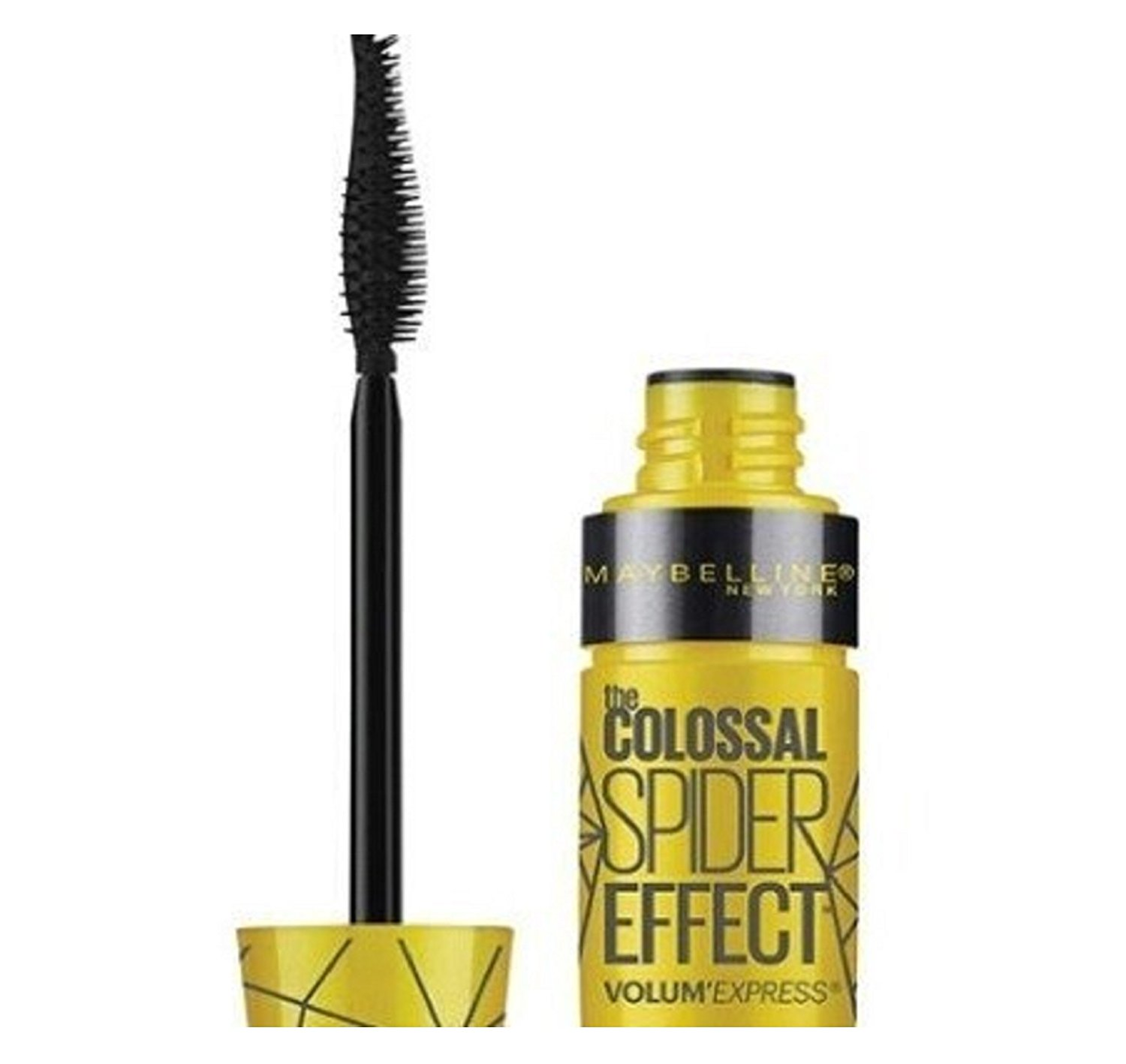 9aa11b4eb0a Get Quotations · Maybelline Volum' Express The Colossal Spider Effect  Waterproof Mascara, 222 Classic Black (Pack