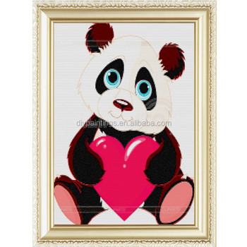 Simple And Honest Panda Red Heart Wholesales Russia Hand Paint