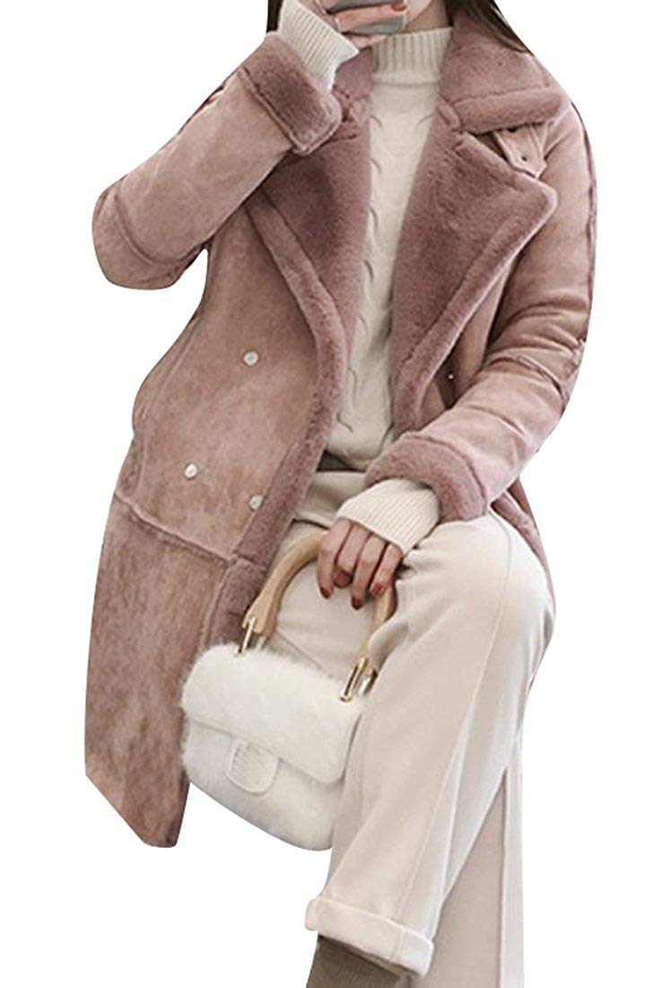YUNY Women's Slim Fit Faux Suede Thicken Long Shearling Pea Coat