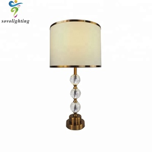 modern Style Antique Crystal with Brass white lamps shade Table Lamp for Hotels Decoration
