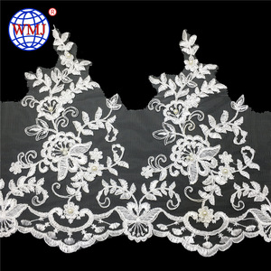 French 11.3 Inch wide white alencon beaded bulk corded bridal lace trim for liturgical clothing