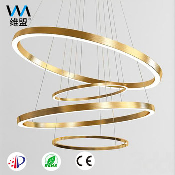 Customized hanging round golden modern pendant chandelier light led w for home hotel