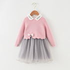 Huzhou factory wholesale kids girls neckline embroidery long sleeve bow appliqued autumn sweater dress
