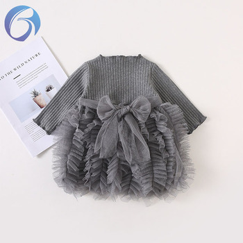 2019 Wholesale Baby Autumn Infant Skirt Wear Knit Dress Clothes Child Kids Girl Dress