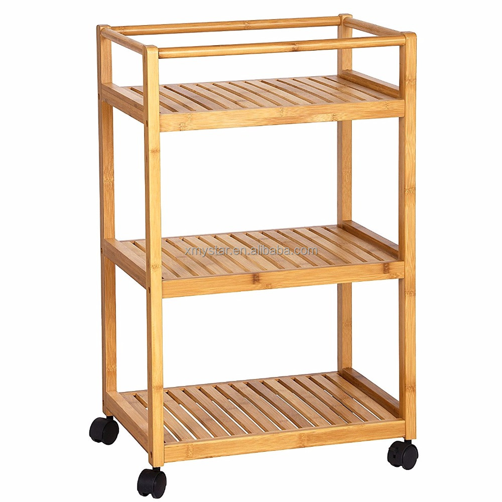Bamboo Kitchen Storage Cart With 3