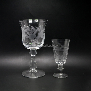 Etched engraved white Water Goblet Glasses