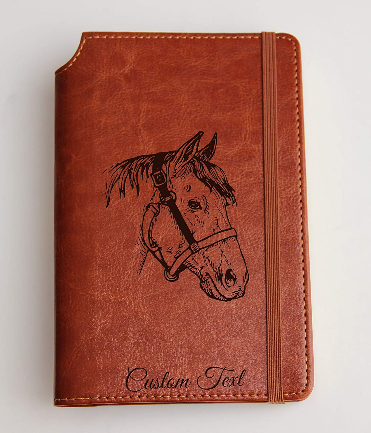 Customizable laser engraved horse Journal Journal Customizable engraved Journal leather bound, strip with the same color to keep it closed