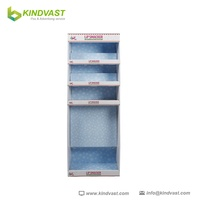 Hot 4 tier cardboard display promotional stand shelf for lipstick of cosmetic wall hung type