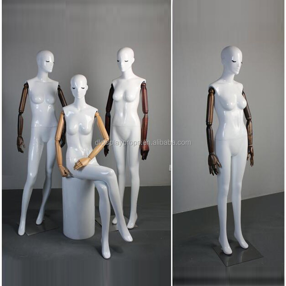 Dl892 A Level Fashion Women Painting Mannequin Full Body Glossy White Color With Wooden Arms Female Mannequin Buy Mannequins Sexy Female Full