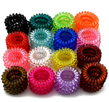 1 BOX 3 Pcs Lot Clear Colors Telephone Wire Cord Line 17 Colors Gum Hair Holder