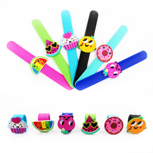Funny Personalized Fruit Cake Donuts Custom Silicone Wrist Metal Slap Bracelets No Minimum Kids Party Favors