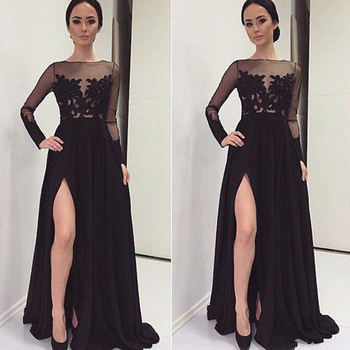 Free Shipping Black Sexy Chiffon Bateau Side Split Floor Length Long Prom Dress Evening Dress