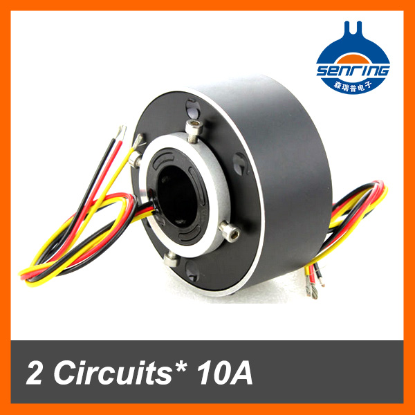 Electrical conductive slip ring 2 wires 10A with hole size 25.4mm of through bore slip ring
