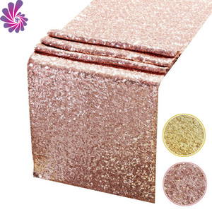 Hot sale gold embroidery rose gold sequin table runner